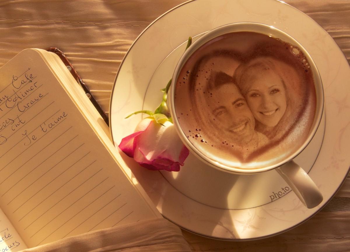 Greeting love card with photo printed on coffee