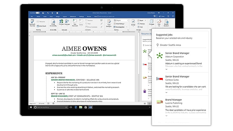 Microsoft Word Gets a Resume Assistant, Powered by LinkedIn