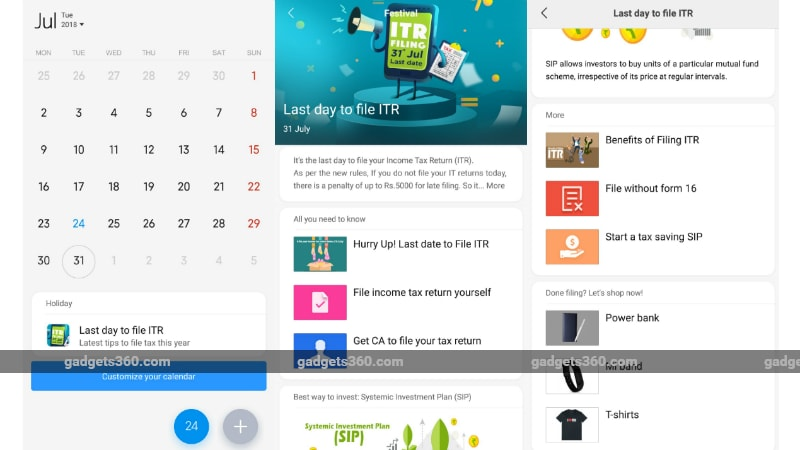Mi Calendar App on MIUI Gets ClearTax Integration to Submit Income