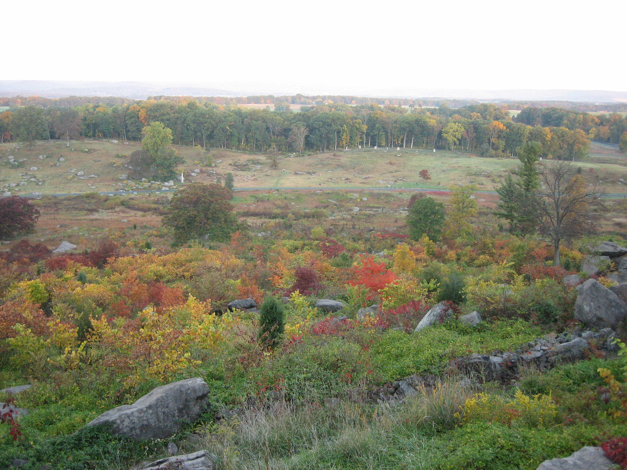 Fall Mountains In The Sun Wallpaper Little Round Top Panorama Early Autumn Update