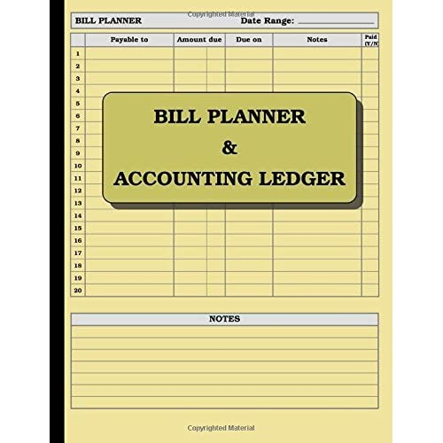 Bill Planner and Accounting Ledger 110 pages; size \u003d 85 x 11