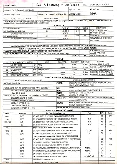 Call Sheet Example - Unitedijawstates