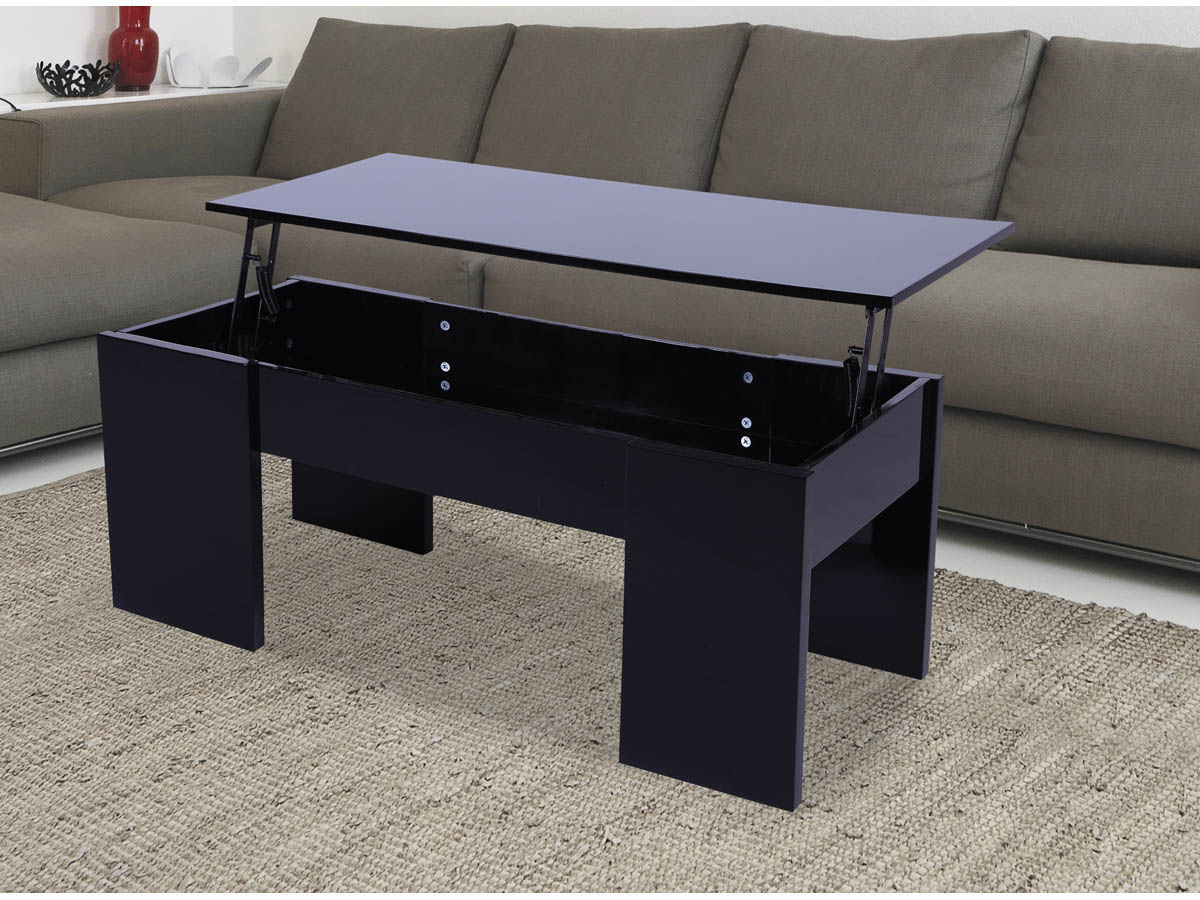 Table Basse Salon Noir Table Basse Quotmaria Quot 100 X 50 X 43 55 5 Cm Noir 68024 68032