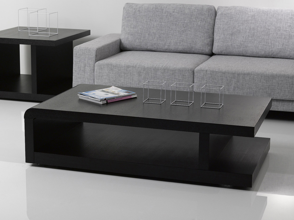 "Table Noir Table Basse ""lisa"" - 140 X 80 X 37.5 Cm - Noir 68082 68084"