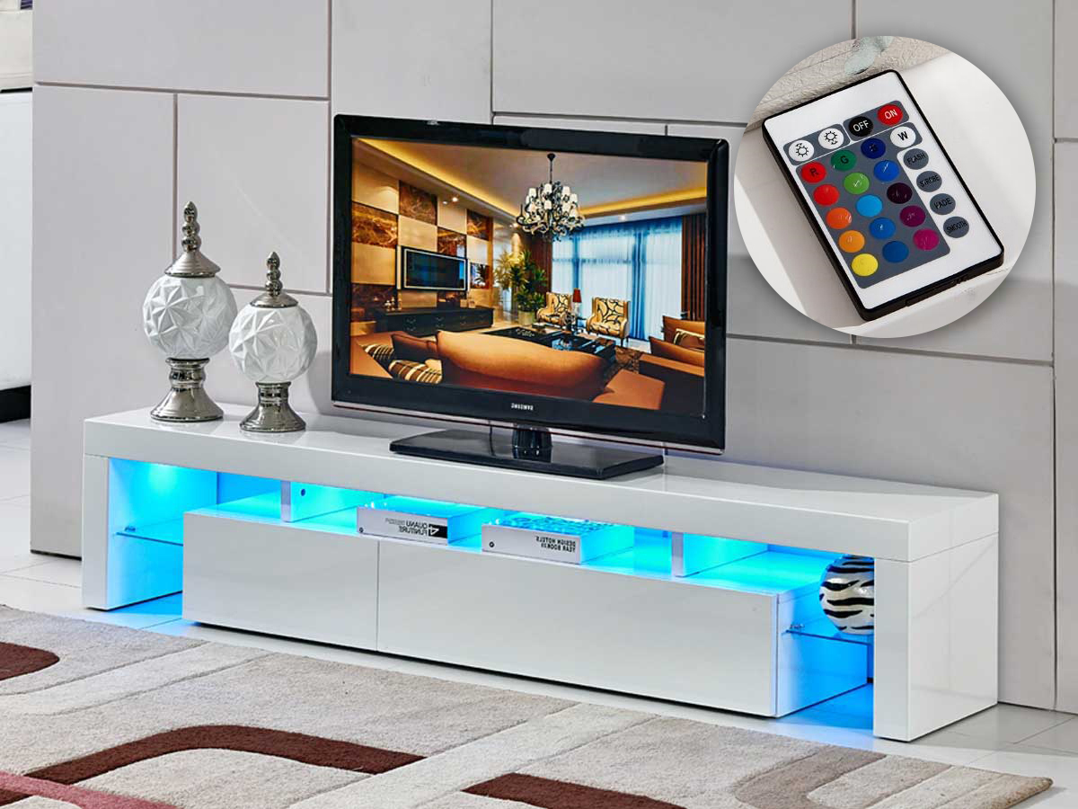 Habitat Meuble Tv Meuble Tv Led Quottina Quot 188 X 34 X 38 Cm Blanc Laqué 85389