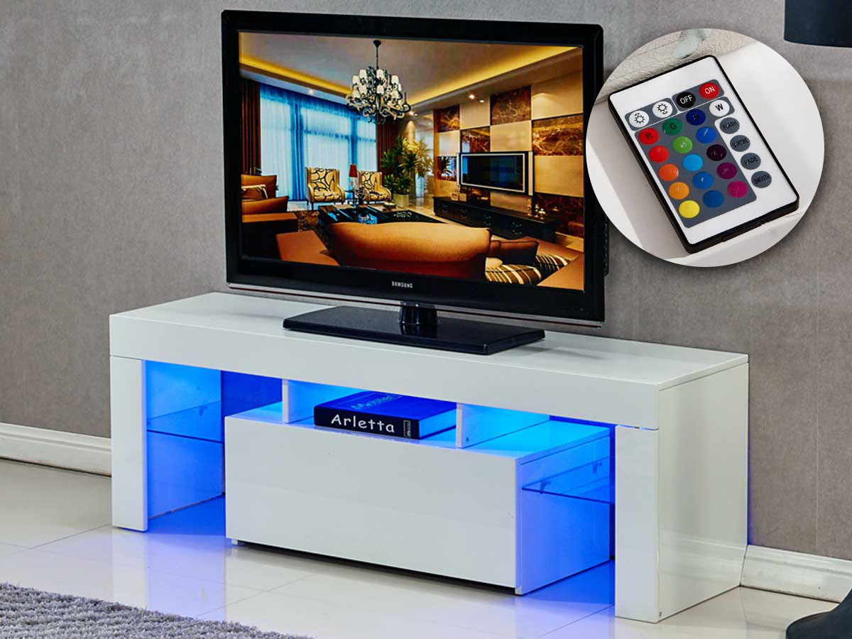 Petit Meuble Tv Led Meuble Tv Led Borda 130 X 34 X 45 Cm Blanc Laq 85392
