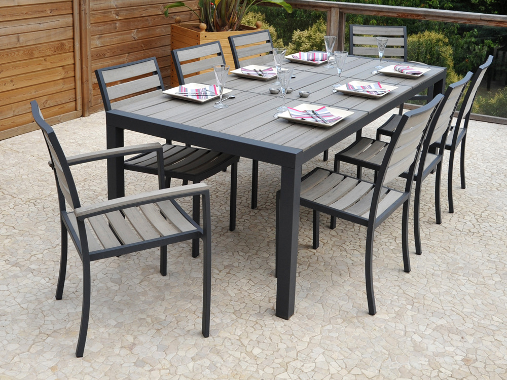 "Table Basse Brooklyn Salon De Jardin En Aluminium ""newport"" - Table + 6 Chaises"