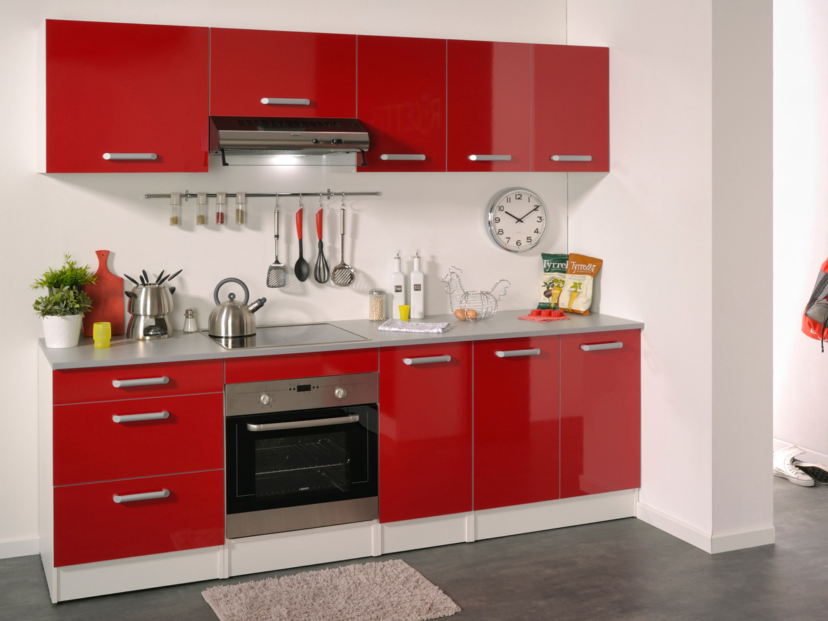 Decoration Porte De Cuisine Ensemble Cuisine Quotshiny Quot 2 4 M Rouge Brillant 78743