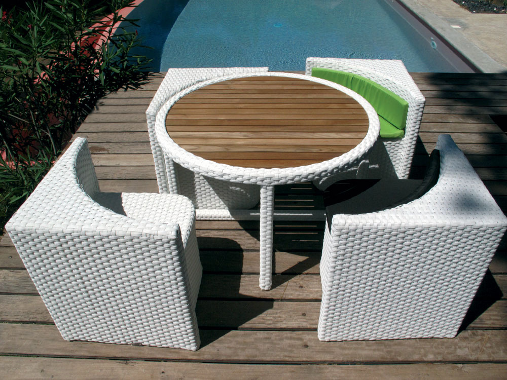 "Table Et Chaise De Jardin En Aluminium Salon De Jardin ""quattro"" Blanc - 4 Places 52373"