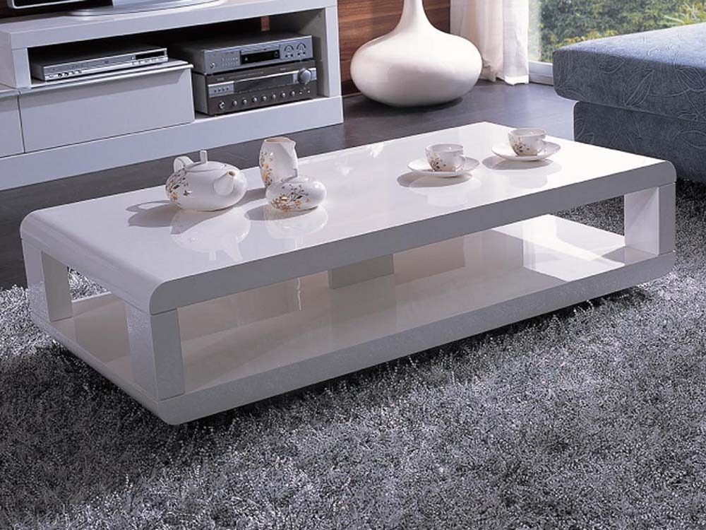 "Meuble Tv 125 Cm Table Basse Rectangulaire ""carlina"" - Mdf Laqué Blanc 53664"