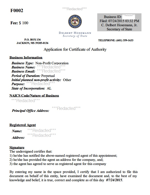 Mississippi Certificate of Authority Harbor Compliance