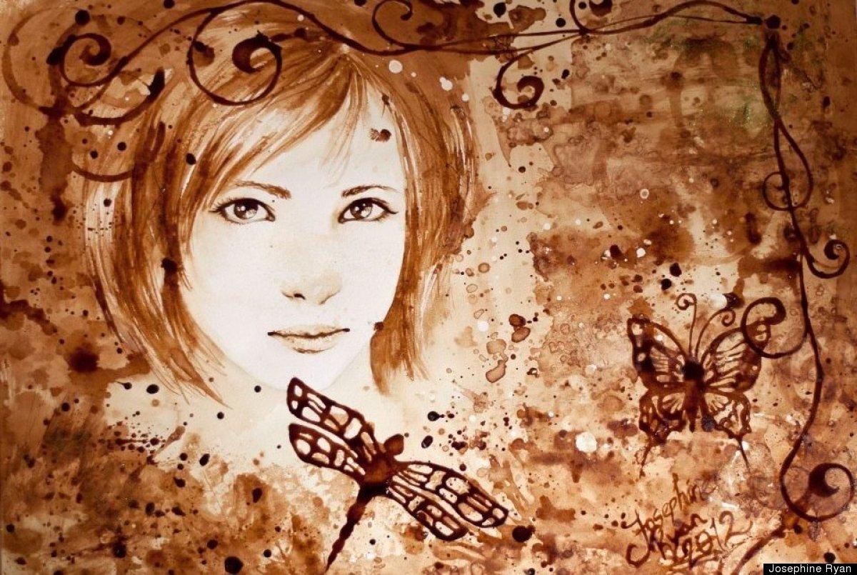 Girl Studying Wallpaper Coffee Paintings By Josephine Ryan Norwegian Artist