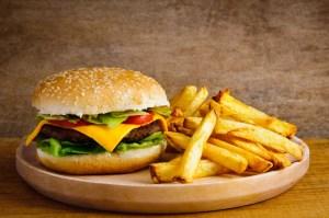 French Fries Hamburger Plate