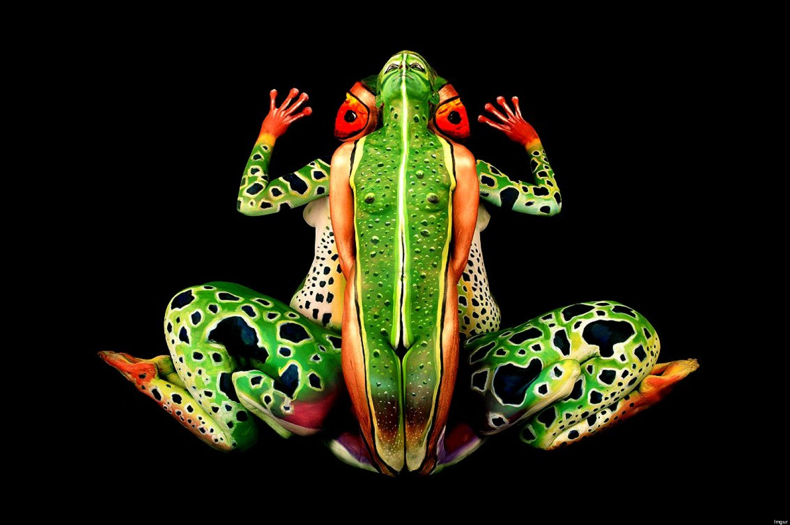 Pinturas Body Paint Body Paint Illusion Five Models Pose As A Tropical Frog