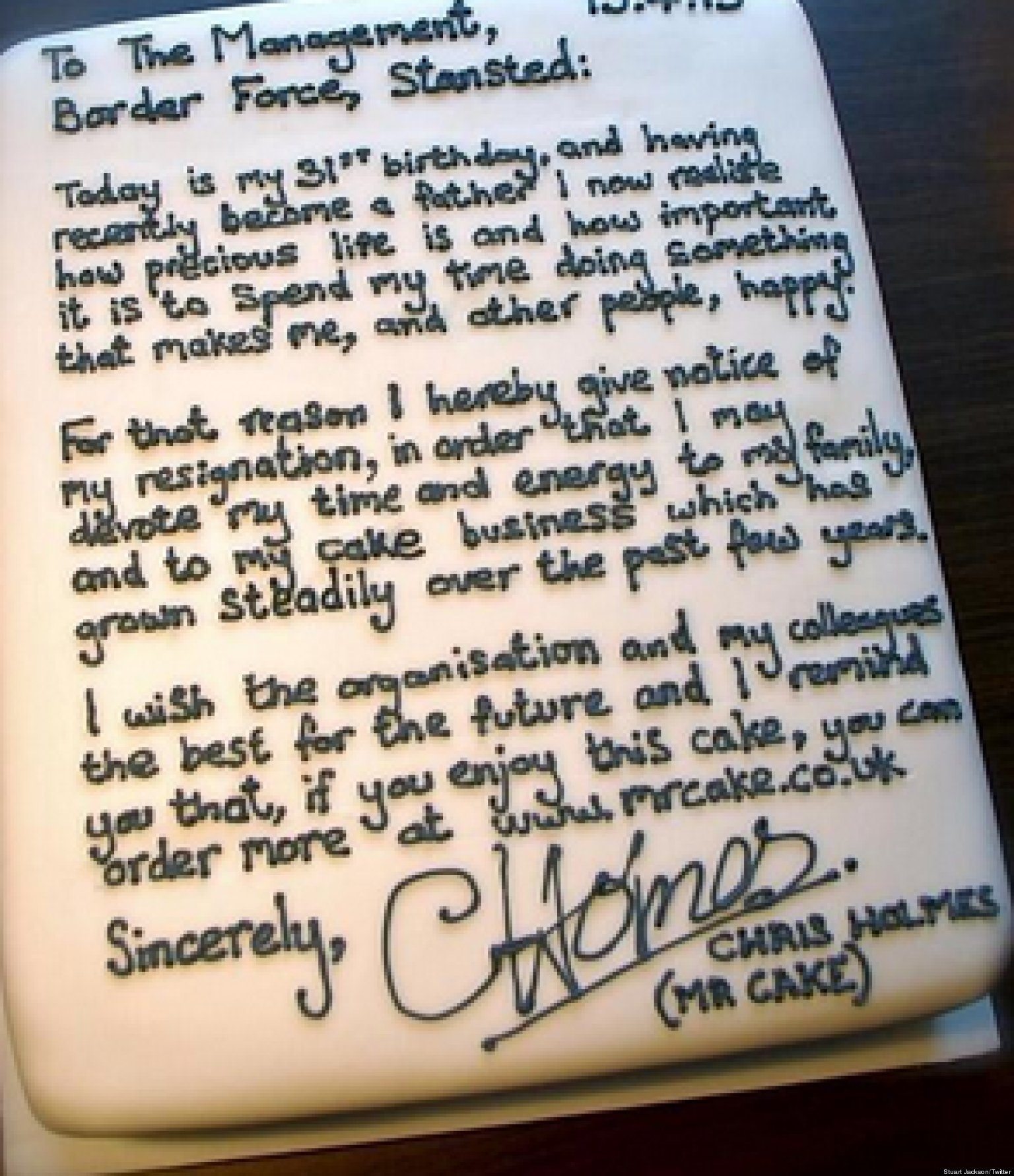 resignation letter on a cake