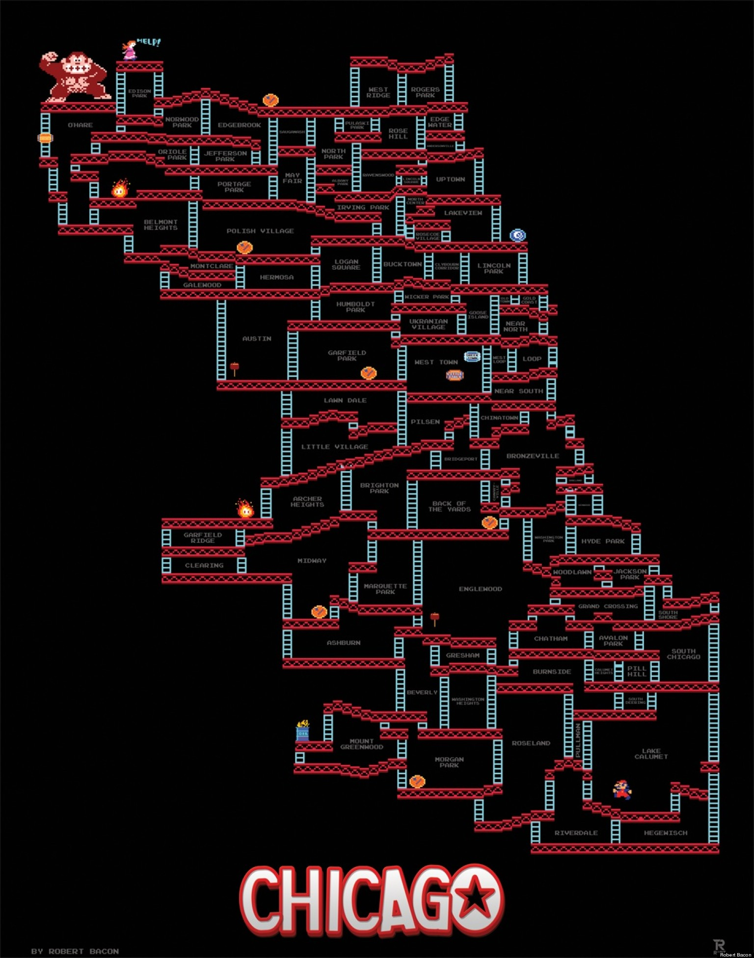 Doctor Symbol Hd Wallpaper Donkey Kong Chicago Map Neighborhoods Re Imagined In