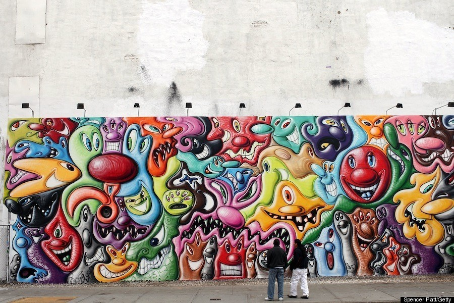 Red And Black Graffiti Wallpaper Kenny Scharf S Houston Street Mural Is Up Photos Huffpost