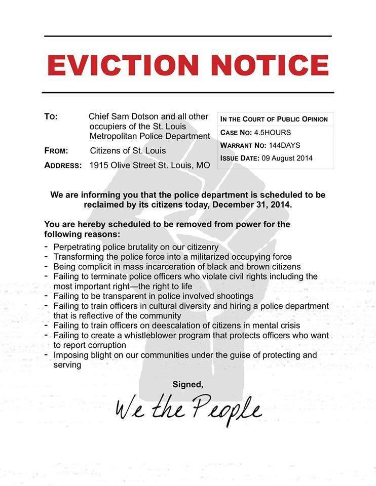 Protesters Storm St Louis Police Headquarters With Eviction Notice - how to make a eviction notice