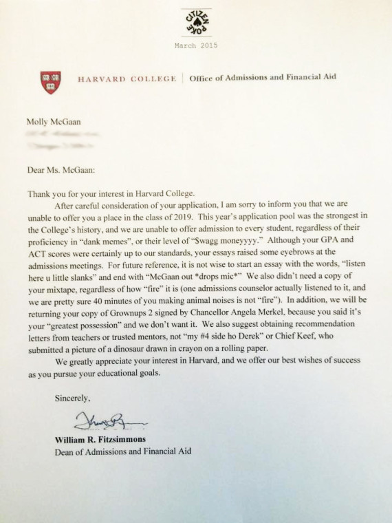 fake recommendation letter college