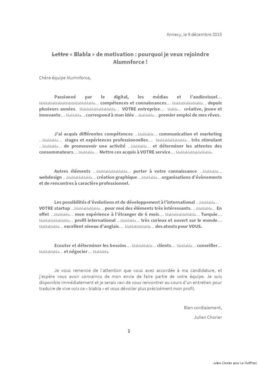 lettre pour indication de cv et lettre de motivation