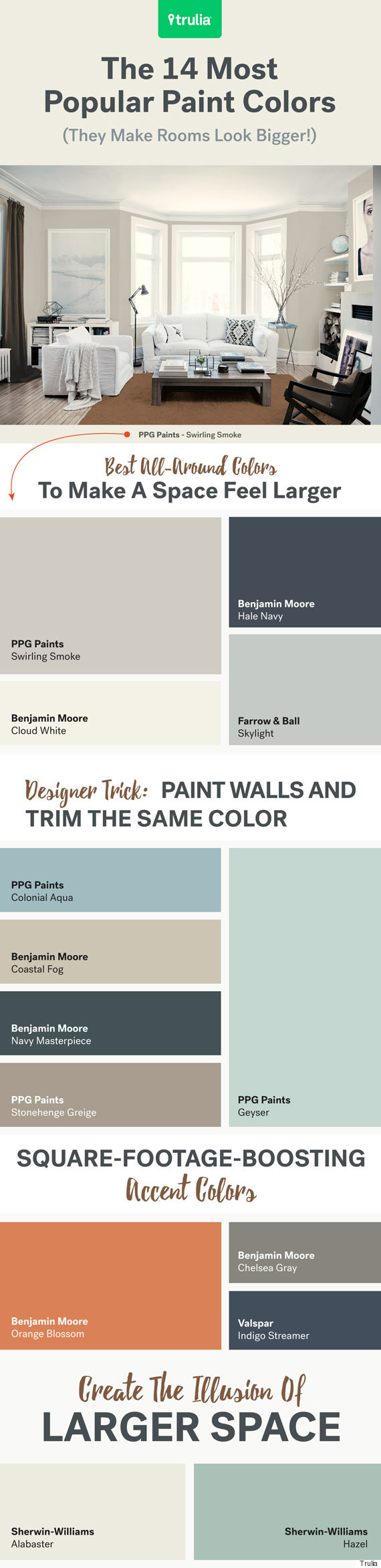 Best Benjamin Moore Gray Colors The 14 Most Popular Paint Colors They Make A Room Look Bigger
