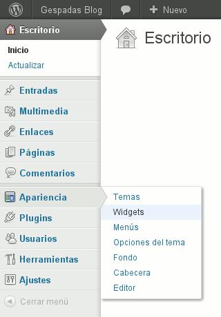 WordPress 3.3 - Menú Principal con Opciones Flotantes