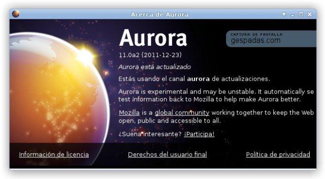 Firefox 10 Aurora en Español
