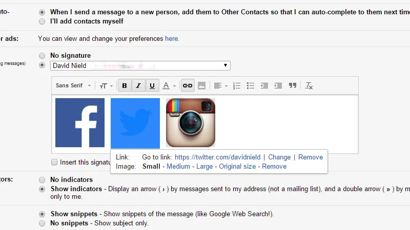 How to Add Social Media Links to Your Gmail Signature Gizmodo UK