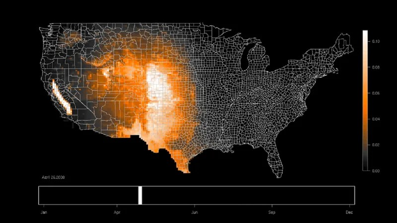 Stunning animated maps reveal bird migrations across the United States - animated maps