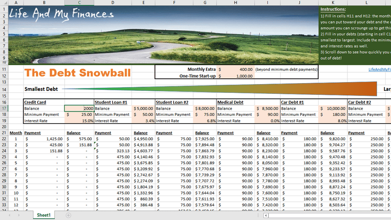 7 debt payoff calculator spreadsheet