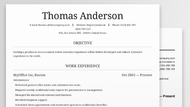 Resume On Careerone Cv Maker Creates Beautiful Professional Looking Resumes
