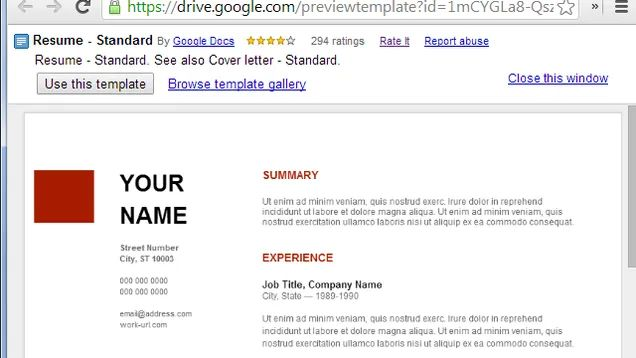 template google drive resume