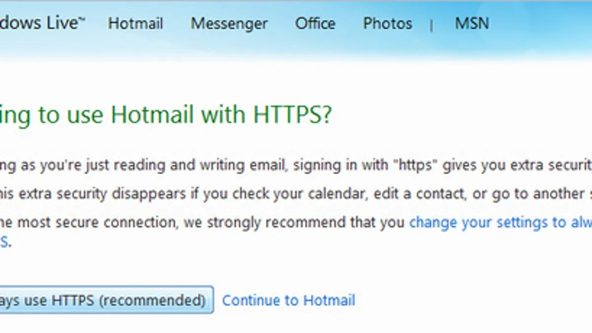 Messenger Hotmail Hotmail Adds Always On Secure Https Connection Option