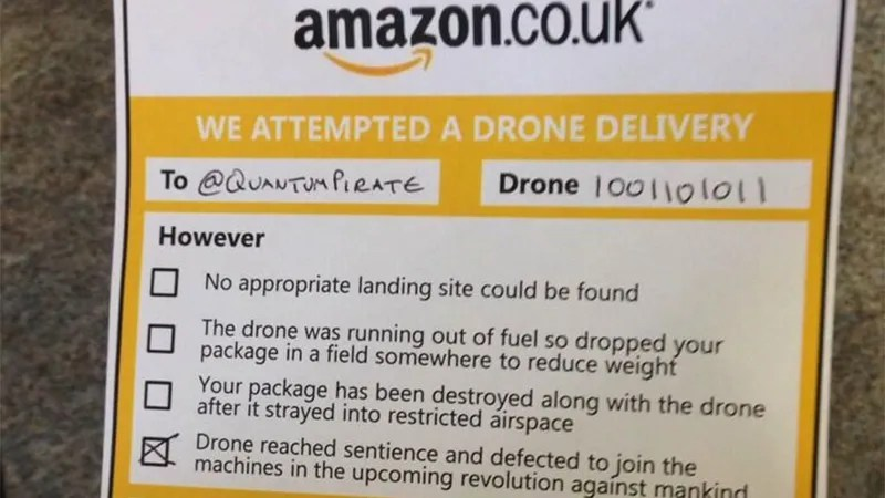 Amazon\u0027s Drone Delivery Notices Will Hopefully Be A Little Cheerier