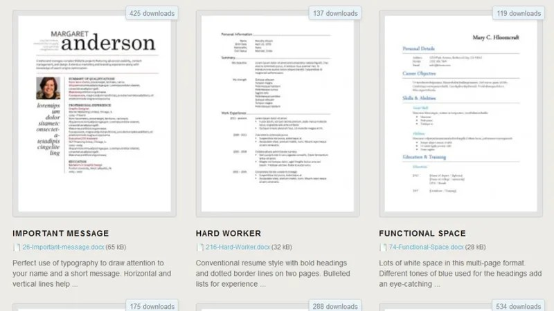 Download 275 Free Resume Templates for Microsoft Word - Microsoft Word Resume Templates