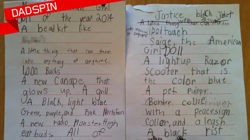 My Kid\u0027s Insane Christmas Wish List, Annotated - christmas wish list paper