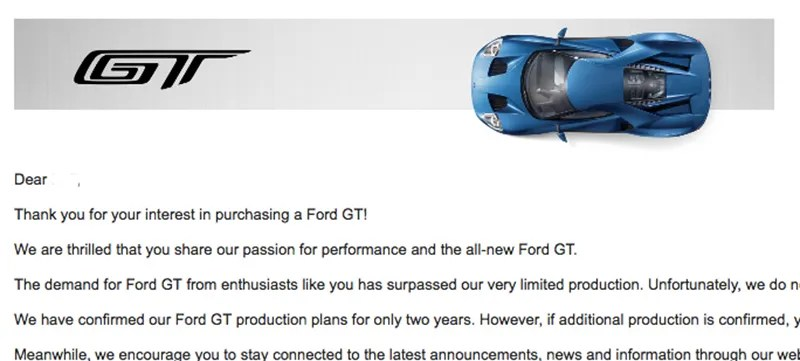 The Ford GT Rejection Letter Is The Saddest Thing In The World