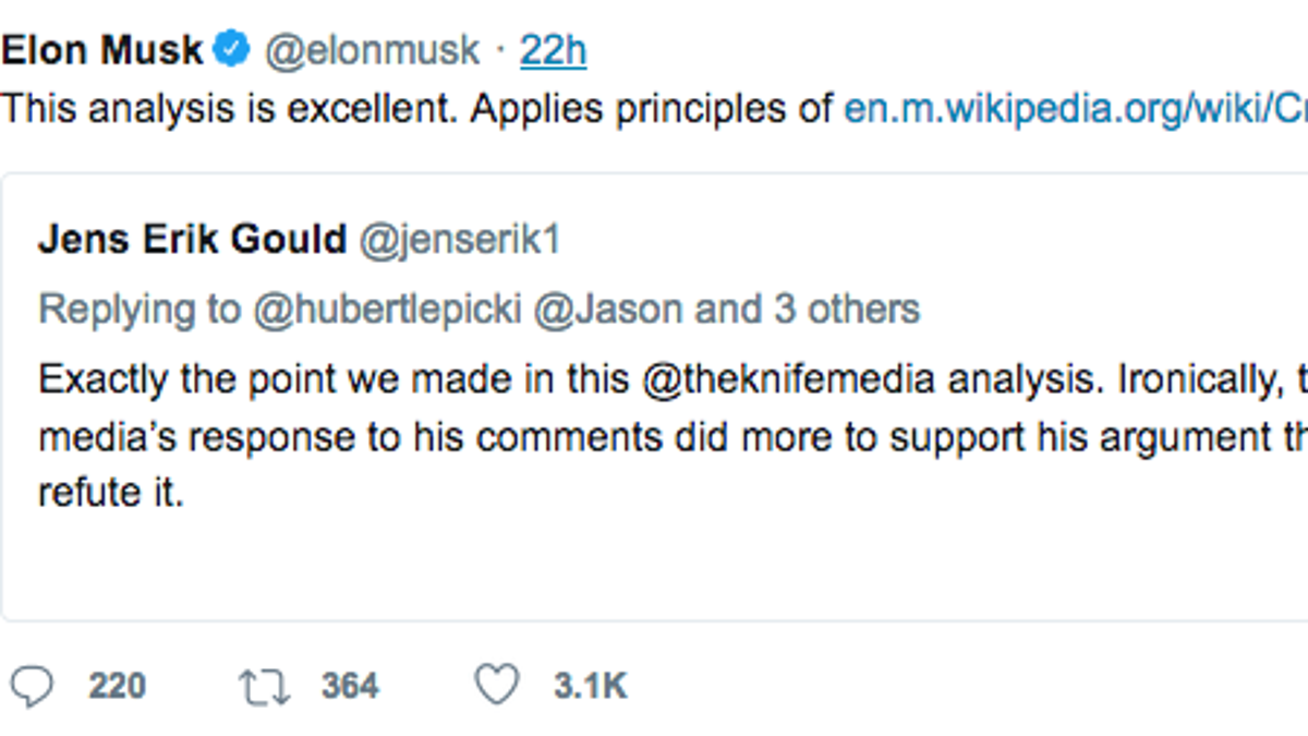 Knife Media Elon Musk S Idea Of Excellent Journalism Comes From An Alleged