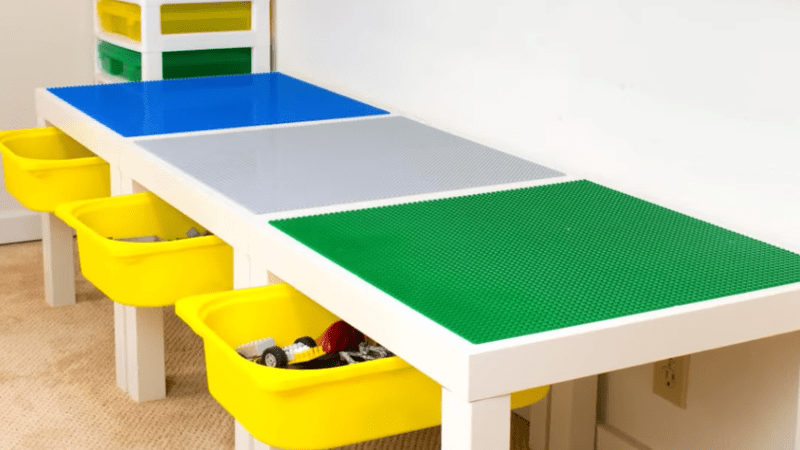 Ikea Lack Upgrade Build Your Kids A Lego Table With Storage Drawers