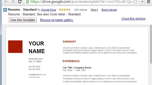 Use Google Docs\u0027 Resume Templates For A Free, Good-Looking Resume