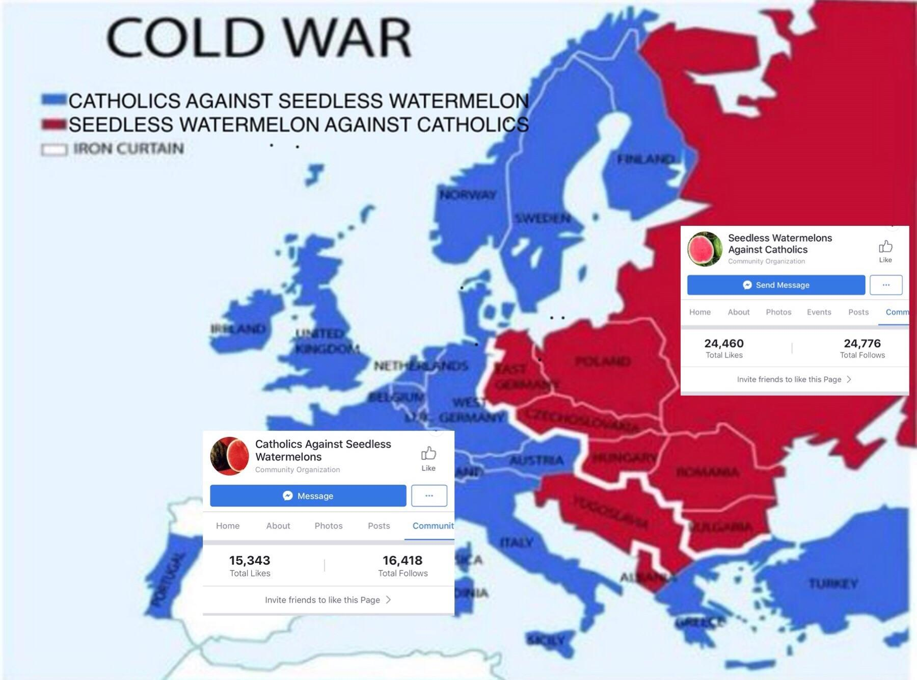 Iron Curtain Map Cold War Map Catholics Vs Seedless Watermelons Know Your Meme