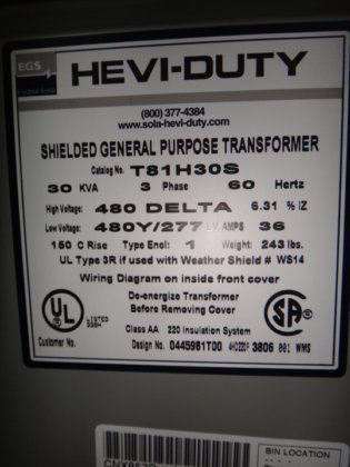 EGS Hevi-Duty 30 KVA Dry Type Transformer in Tuscaloosa, AL, USA