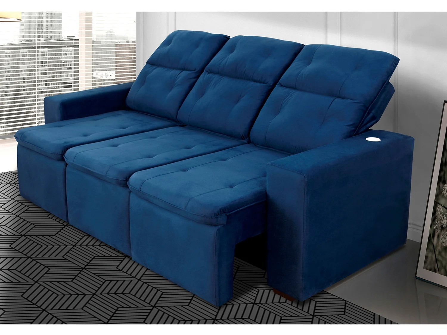 Sofa De Veludo Azul Sofa Retratil Veludo