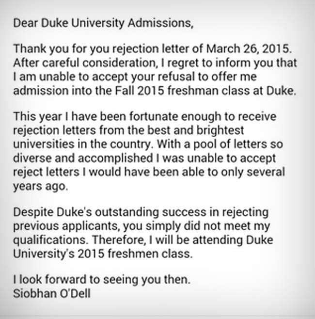 Going Viral 17-year Old Student Rejects A University\u0027s Rejection Letter - refusal letter