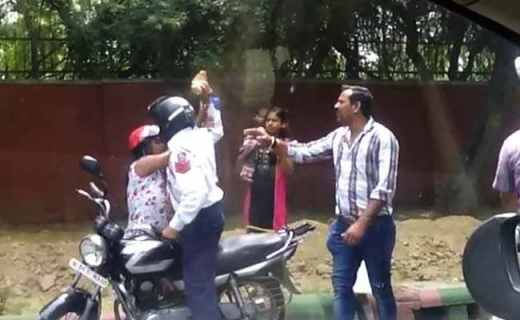 Delhi Cop Caught On Camera Attacking Woman With Brick, Sacked and Arrested