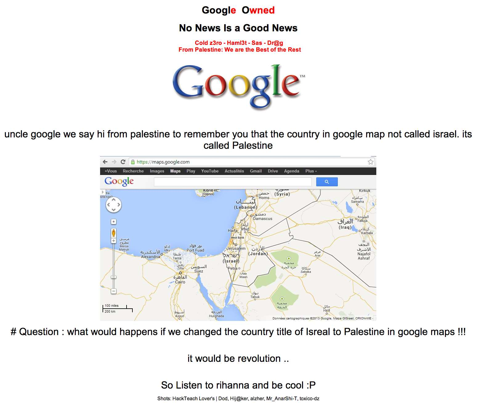 Www Google Com Au Google S Palestine Domain Hacked Security Itnews