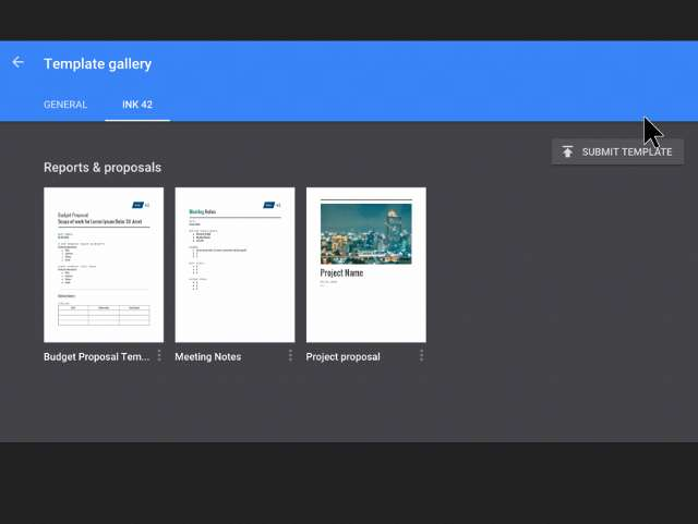 Google Docs, Sheets, Slides and Forms to get custom templates