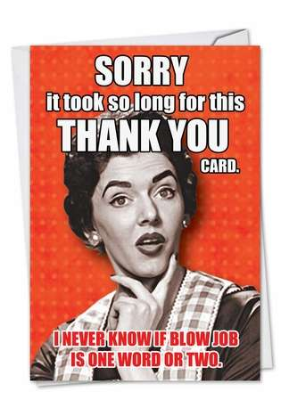 Blow Job Picture Thank You Paper Card Nobleworks