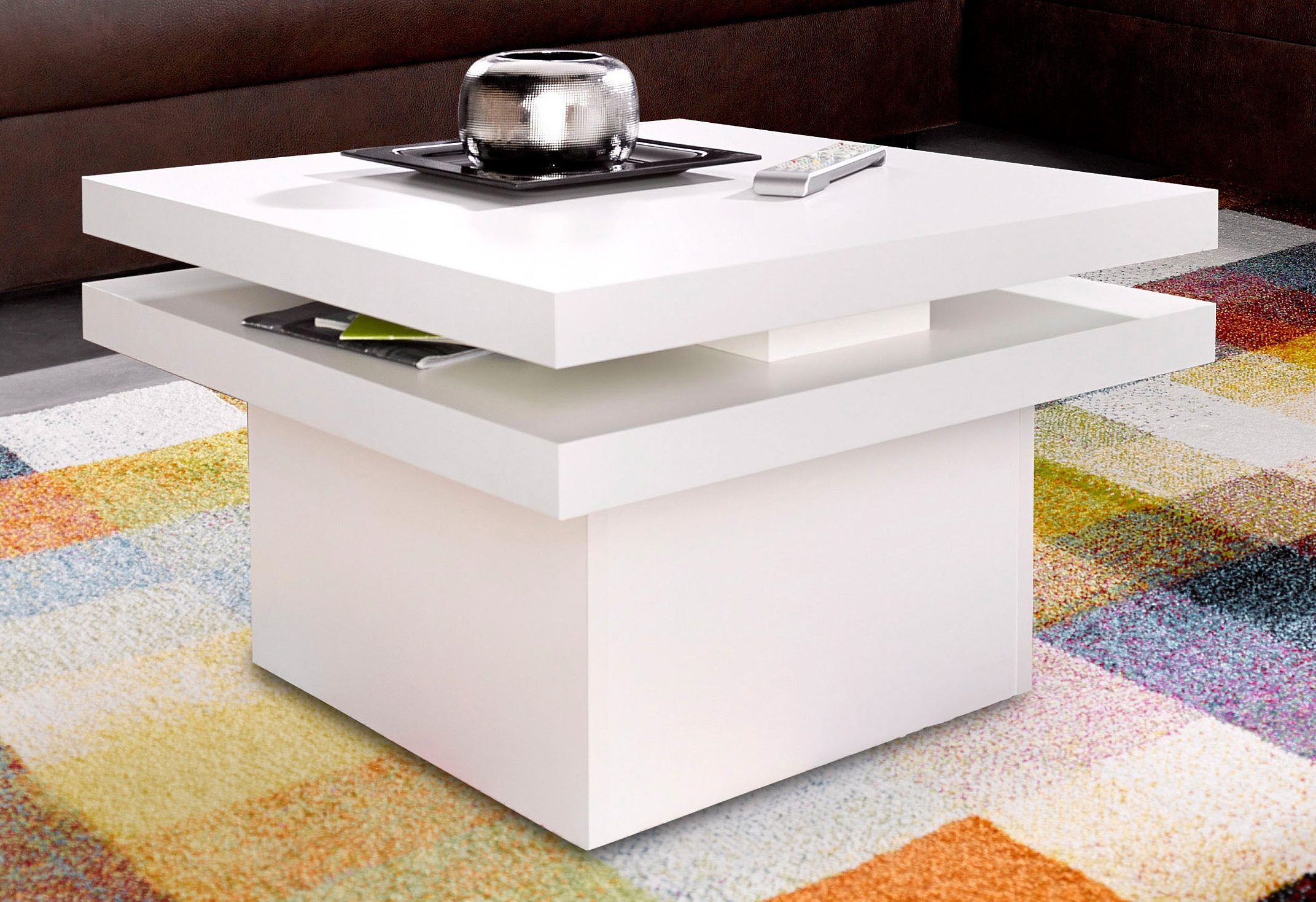 Couchtisch Drehbarer Tischplatte Couchtisch Dreieckig Drehbar
