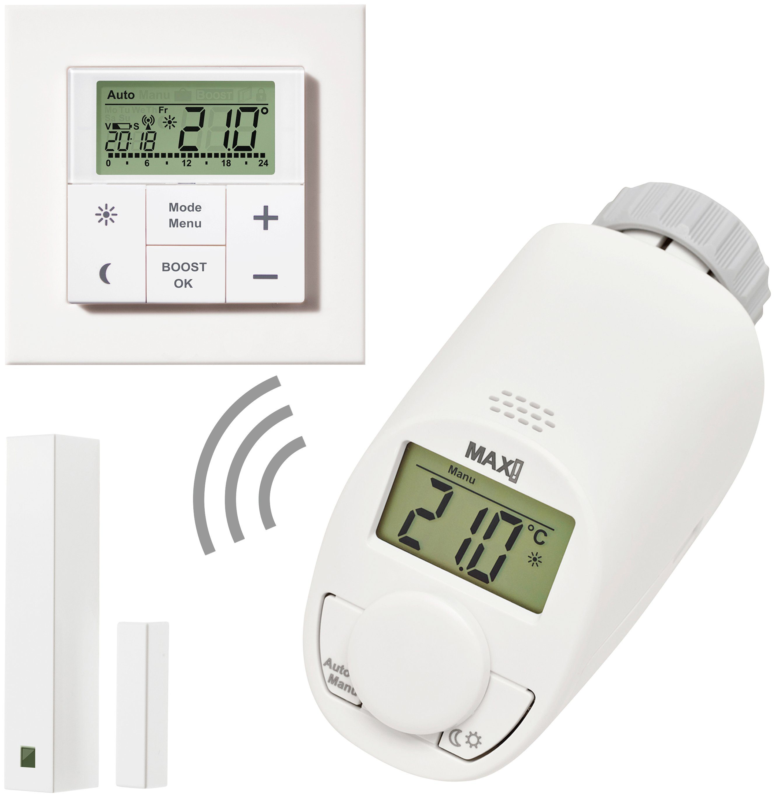 Smart Home Wandthermostat Max Smart Home Set Raumlösung Medium 3 Tlg Heizkörperthermostat Wandthermostat Fensterkontakt Online Kaufen Otto